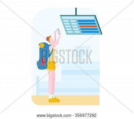 Tourist In Airport With Baggage Traveling, Journey Flat Vector Illustration Isolated. Man Ready For