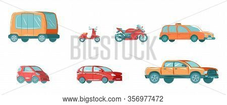 Urban Public Transport Set With Bus, Taxi, Vehicle, Car Automobile And Motor Bike For City Isolated