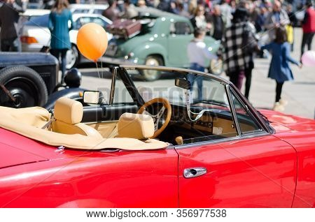 Lecce, Italy - April 23, 2016: Back Right Side View Of Vintage Classic Retro Red Automobile Car Conv