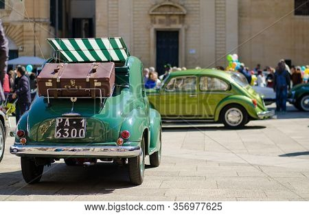 Lecce, Italy - April 23, 2016: Back Right Side View Of Vintage Classic Retro Green Automobile Car Wi