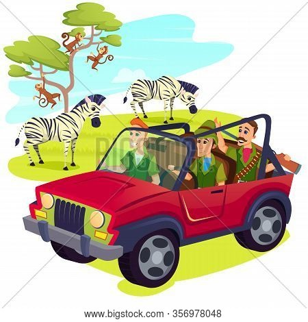 Group Of Men Hunters Wearing Uniform And Weapon Driving Jeep On Safari In Africa With Zebras Herd Gr
