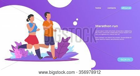 People Run Landing. Sporty Woman And Man Running Outdoor, Summer Nature Healthy Activities Web Page.