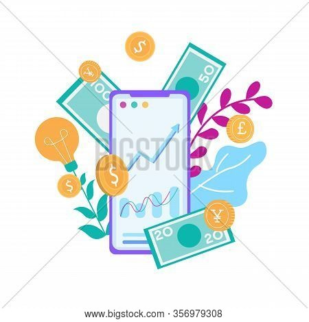 Cellphone With Financial Charts Graphs Make Money Online Smartphone Vector Flat Illustration Capital