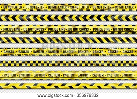Danger Ribbon. Yellow Caution Tape With Warning Signs For Police Crime Scene Or Construction Area. V