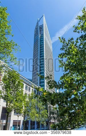 The Hague, The Netherlands - July 12 2018: Tall Building Of The Hague City Skyline On Sunny Day