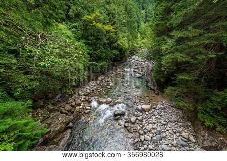 Forest River Landscape With Green Trees And Shallow River With Rocks And Boulders. Summer Forest Nat