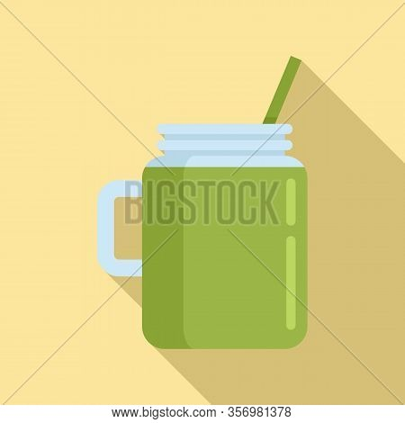 Celery Smoothie Icon. Flat Illustration Of Celery Smoothie Vector Icon For Web Design