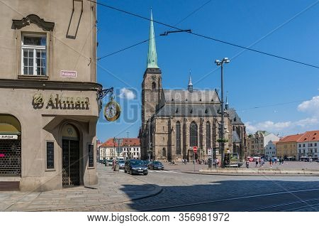 Pilsen, Czech Republic - May 26, 2018: Pilsen Town Square With Historic St Bartholomew Cathedral And
