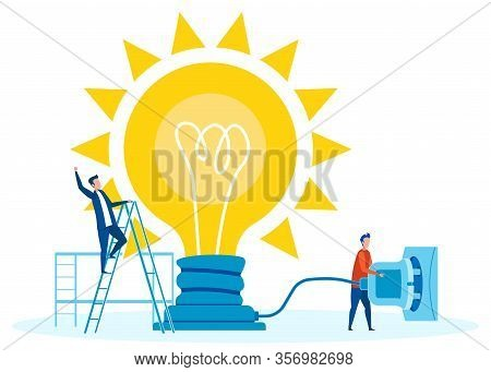 Teamwork For Innovations Concept Flat Illustration. Cartoon Man Plugging Lightbulb Into Socket. Mana
