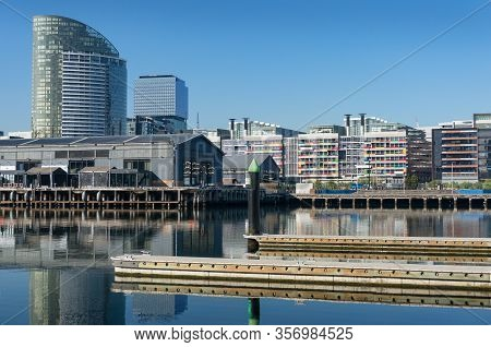 Docklands Cityscape With Marina, Yachts And Skyscrapers. Waterfront City Melbourne Suburb Cityscape,