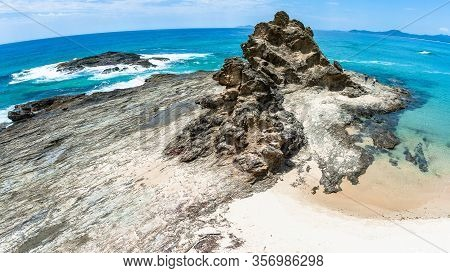 Scenic Blue Ocean At Numbucca Heads Panoramic View Of Scenic Headland Rock Into Sea Waters A Holiday