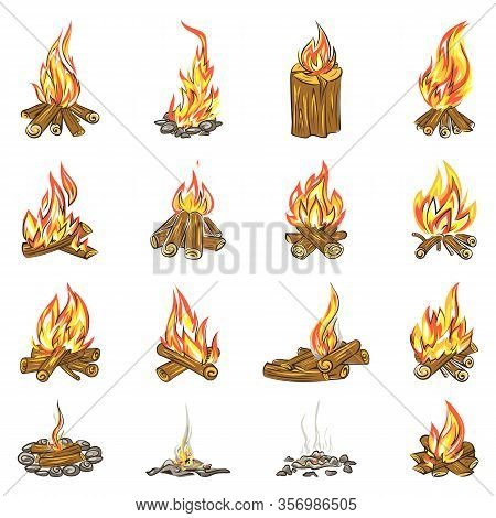 Campfire Icons Set. Cartoon Set Of Campfire Vector Icons For Web Design