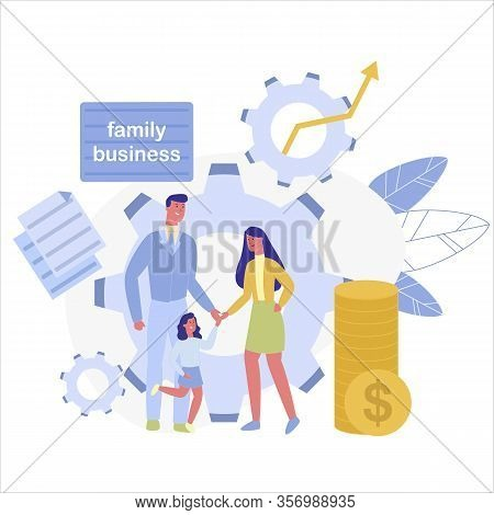 Father, Mother And Daughter, Combining Their Efforts In Order To Succeed. Concept Family Business As