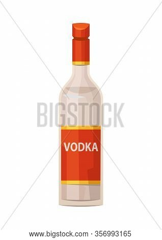 Classic Glass Vodka Bottle With Red Cap On White Background Vector