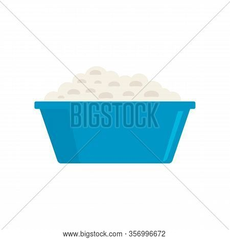 Cottage Cheese In A Plate Flat Icon. Vector Cottage Cheese In A Plate In Flat Style Isolated On Whit