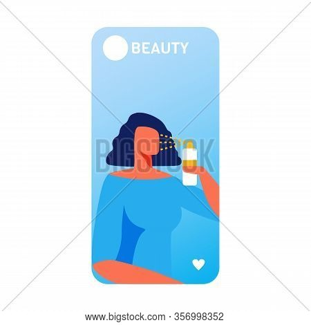 Beauty Mobile Banner With Flat Cartoon Elegant Woman Character Using Nano Spray For Face Care. New I