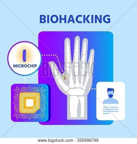 Biohacking Nanotechnology Presentation Poster. Biological Health Engineering. Human Hand, Rfid Micro