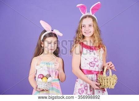 Some Bunny Loves You. Small Girls In Bunny Headband For Easter Celebration. Little Girls Wearing Eas