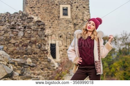 Stay Warm And Fashionable. Woman Wear Furry Coat. Winter Clothes. Wardrobe For Cold Weather. Girl St