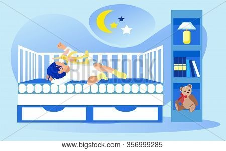 Nursery With Shelving, Night Lamp And Soft Teddy Bear. Baby Girl Or Boy, Wearing White Body Shirt An