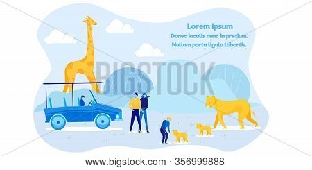 Africa Wildlife And Nature Exploration Advert. Cartoon Family At Zoo. Father, Mother, Son Interactin