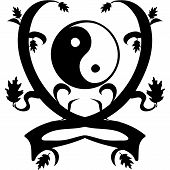 Vintage Ornament Yin and Yang. Vector illustration. poster