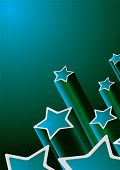 Blue and green star background with copy space poster