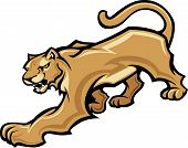 Graphic Mascot Vector Image of a Walking Cougar Body poster