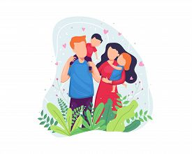 Vector Illustration Happy Family Concept. Happy Family Hugging Each Other, Having Fun Together. Port