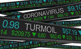 Coronavirus Stock Market Crash Turmoil COVID-19 Outbreak Pandemic 3d Illustration