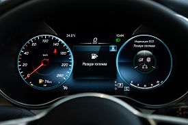 Novosibirsk, Russia - March 07, 2020: Mercedes-benz Glc-class, Car Dashboard With White  Backlight: