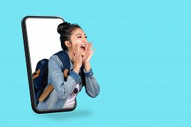 Smartphone Pop Up For Advertising.asian Woman Travel Backpacker Shouting Open Mouth Through From Scr