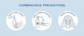 Coronavirus Covid-19 Preventions Tips, Hand Sanitizer, Wear Face Mask, Washing Hands. Corona Virus V