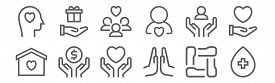 Set Of 12 Charity Icons. Outline Thin Line Icons Such As Blood Donation, Praying, Donation, Support,