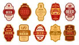 Beer Vintage Labels. Retro Beers Brewery Badges, Alcohol Craft Vintage Lager Can Or Bottle Symbols V