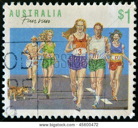 AUSTRALIA - CIRCA 1990: A stamp printed in Australia shows fun run circa 1990