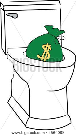 Toilet W Money Being Flushed.