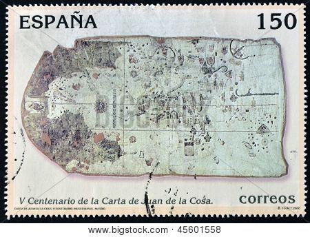 A stamp printed in Spain shows map of Juan de la Cosa