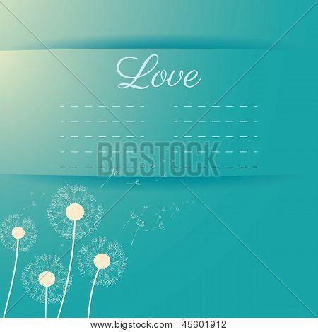 Dandelion seeds flying away on the wind vector invitation card on light blue color