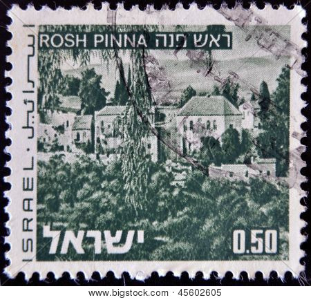 ISRAEL - CIRCA 1971: stamp printed in Israel shows Rosh Pinna circa 1971