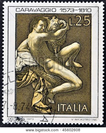 A stamp printed in Italy shows the play