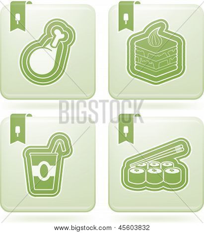Food & drinks icons set pictured here from left to right top to bottom: Meat with bone Peace of cake Drink Sushi. poster