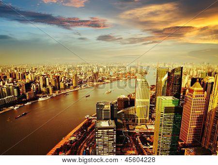 Shanghai Pudong Skyline At Sunset