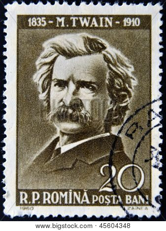 stamp printed by Romania show Mark Twain