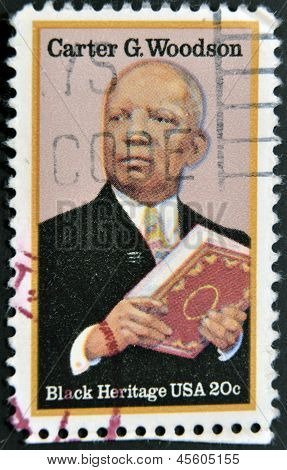 stamp printed in USA show Carter Godwin Woodson