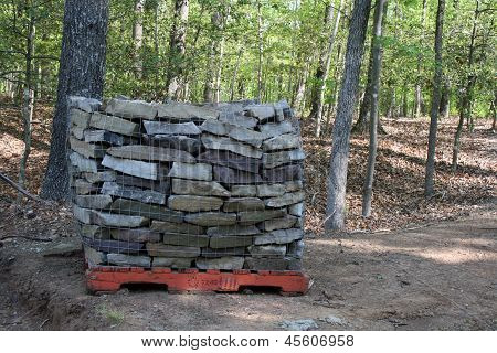 Pallet of concrete bricks ready to be used