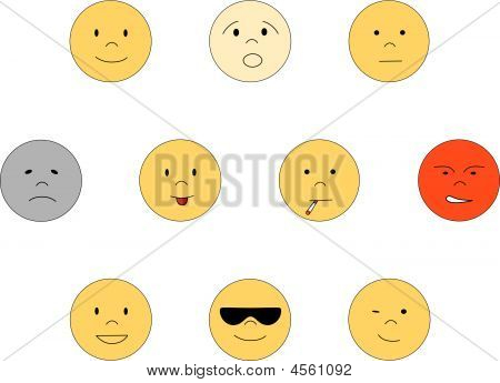 Set Of Smileys In Different Emotions.eps