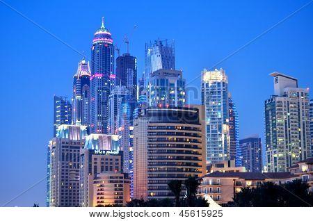 Night Dubai Skyscrapers, Jumeira beach, UAE.