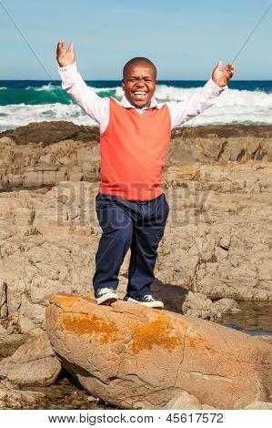 Dwarfism man very happy.