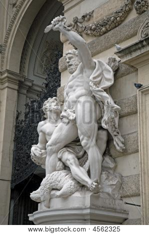Statues At Entrance To Hofburg Palace In Vienna